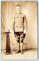 WWI RPPC DOUGHBOY UNIFORMED SOLDIER STUDIO REAL PHOTO POSTCARD CREASED