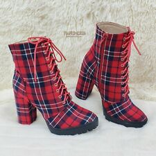 """Florance Red Plaid Lace Up 4"""" Block Heel Side Zipper Ankle Boots 6-11"""