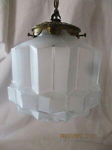 Ancien Lustre Plafonnier suspension ART DECO Globe  DEPOLI BUILDING SKYSCRAPER