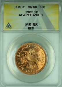 1965 1P New Zealand ANACS MS 68 Red 1 Penny Coin KM#24 (WB2)