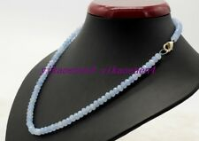 """Hand Made 4x6mm Blue Aquamarine Faceted Rondelle Gemstone Beads Necklace 18""""AA"""