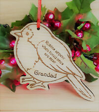PERSONALISED CHRISTMAS TREE BAUBLE DECORATION ORNAMENT MEMORIAL ROBIN OAK GIFT