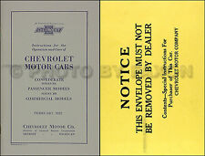 1932 Chevy Owners Manual with Envelope Chevrolet Car and Truck Owner Guide Book