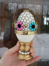 REAL EGG Hand Decorated Goose Jeweled Trinket/Jewelry Box Easter Birthday Gift
