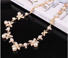 GOLD CREAM FAUX PEARL BUTTERFLY ENCRUSTED DIAMANTE RHINESTONE CRYSTALNECKLACE