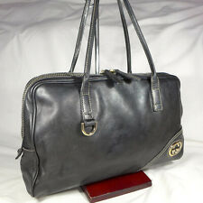 Authentic Rare Gucci Britt Black Lambskin Leather Small Bowling Shoulder Handbag