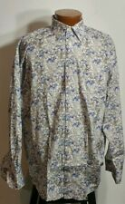 St. Croix Men's Long Sleeve Button Front Shirt Made In Italy Floral Pattern L