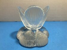 Vintage Viking Art Glass Candle Holder Seashell Crystal Clear