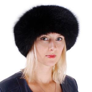 Genuine Black Fox Fur Roller Hat with Leather Top! Women Winter Cap Natural Fur