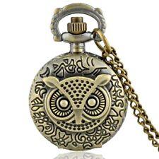 Vintage Bronze Owl Pocket Watch Quartz Antique Necklace Pendant Chain Mens Gift