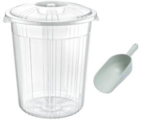 Clear Plastic Bin Kitchen Food Flour Storage Animal Feed Pet Food Box + SCOOP
