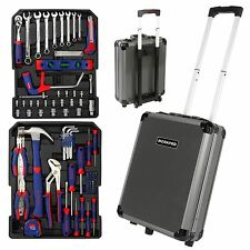 WORKPRO 111PC Handtool Set Sockets Wrench Repair Tool Kit Aluminum Trolley Box