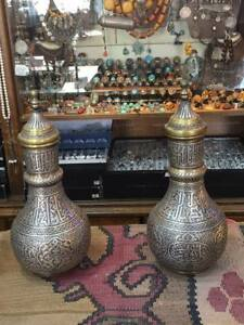 ANTIQUE ISLAMIC  MAMLUK BRASS WITH SILVER INLAID  INLAY ARABIC VASE PAIR