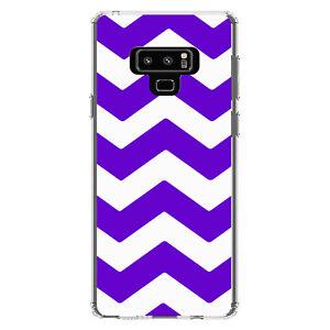 Clear Case for Galaxy Note Purple White Chevron Stripes