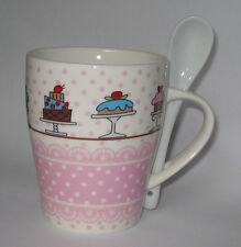 Tasse en porcelaine deco gateau et cuillere