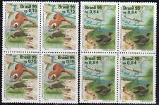 BRAZIL 1995 ANIMALS & BIRDS BLOCK of 4 MNH CV$14.00 OTTER, SHIPS, BOAT