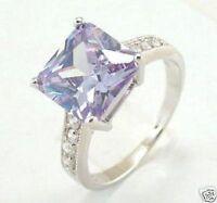 charm, Bague en améthyste cristal et plaqué argent, taille:57#