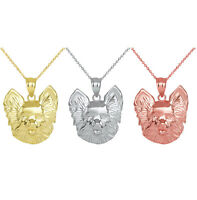 Solid Gold Dog Pomeranian Head Detailed Dog Sports Pendant Necklace