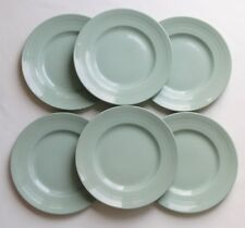 "6 vtg c1940s Woods Ware BERYL green salad lunch breakfast plates 9"" 22.5cm"