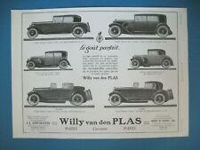 PUBLICITE DE PRESSE WILLY VAN DEN PLAS AUTOMOBILE LE GOUT PARFAIT FRENCH AD 1926