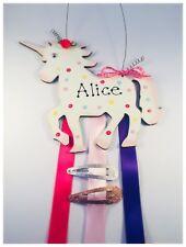 Personalised Sparkly Unicorn Rainbow Room Sign Hair Clip & Bow Holder Organiser