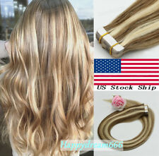 Tape in Hair Extensions Brazilian Real Remy Human Hair Straight Highlight Colors