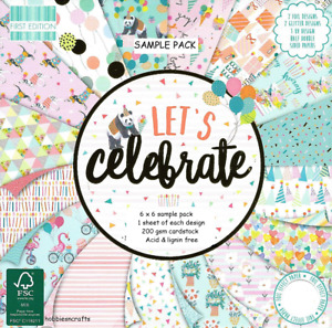 DOVECRAFT LET'S CELEBRATE 6 x 6 Sample Paper Pack - 16 Sheets Birthday