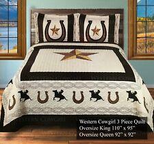 Beige Star Western Home Bedding Bedspread and Pillow Shams 3 Piece Quilt