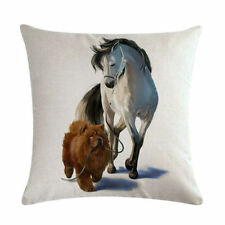 HORSE & WESTERN GIFTS HOME DECOR HORSE LEADING DOG CUSHION COVER 18 inch 45cms
