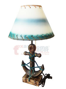"""22"""" Anchor & Rope Table Lamp with 12"""" Teal White Shade Seaside Nautical Decor"""