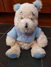 New listing Disney Exclusive Winnie The Pooh Beanie Cream Teddy Blue Top Feet Ears Baby Boy