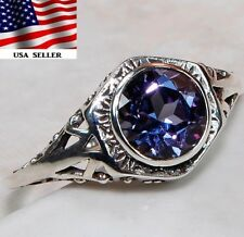 2CT Color Changing Alexandrite 925 Sterling Silver Filigree Ring Jewelry Sz 7