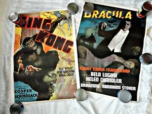 2 VINTAGE PORTAL PUBLICATIONS MOVIE POSTERs DRACULA KING KONG BELA LUGOSI