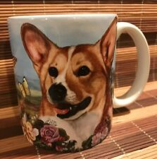 Burnett Butterfly Roses Field Floral Welsh Corgi Dog Coffee Cup Tea Mug Ceramic