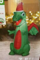 New 3.5' GREEN DRAGON AIRBLOWN INFLATABLE Lights Up Christmas Gemmy Decoration