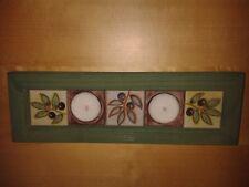 Pantalla de luz de té verde de madera con azulejos de cerámica (2) luces de té