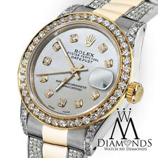 Ladies 26mm Rolex Oyster Perpetual Datejust Custom Diamonds Pearl Dial Accent