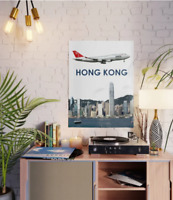 "Northwest Airlines Boeing 747 over Hong Kong Art - 18"" x 24"" Poster"