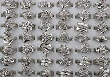 Fashion jewelry Job Lots 8pcs chear rhinestone silver plated lady's rings