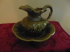 McCoy Olive Green Small Bowl and Pitcher set with grapevine design on side