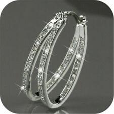 Fashion Women 9K Gold Filled Silver CZ Crystal Big Hoop Wedding Earrings