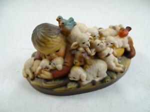 """Vintage Hand Carved Wood Anri Figurine Lamb Sleeping 3.25"""" Long Ferrandiz Old"""