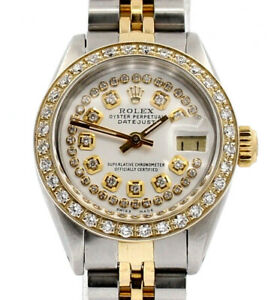 Ladies ROLEX Oyster Perpetual Gold & Steel Datejust 26mm Silver Dial Diamond