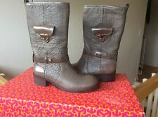 Tory Burch women's boots booties shoes Leona Gray Leather motorcycle SZ 6 NIB