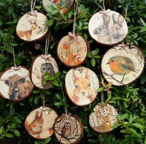 Rustic woodland themed wood log slice xmas tree decoration cottagecore bauble