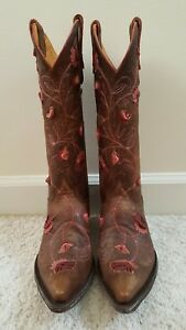 Old Gingo Abbey Rose Brown Distressed Country Western Boots, Pink Size 6