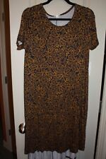 LuLaRoe - Carly Dress - Navy blue & gold paisley - Small - NEW with tags