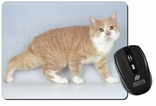 Ginger+White Manx Cat Computer Mouse Mat Christmas Gift Idea, AC-102M