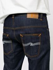 Nudie Jeans Thin Finn Dry Ecru Embo Dark Wash Made in Italy Mens 34 x 34