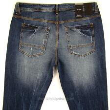 Sean John Mens New Slim Fit Size 36 x 33 Dark Blue DISTRESSED WITH STRETCH NWT